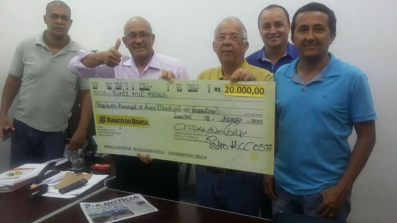 CÂMARA DEVOLVE R$20.000,00 (VINTE MIL REAIS) A PREFEITURA