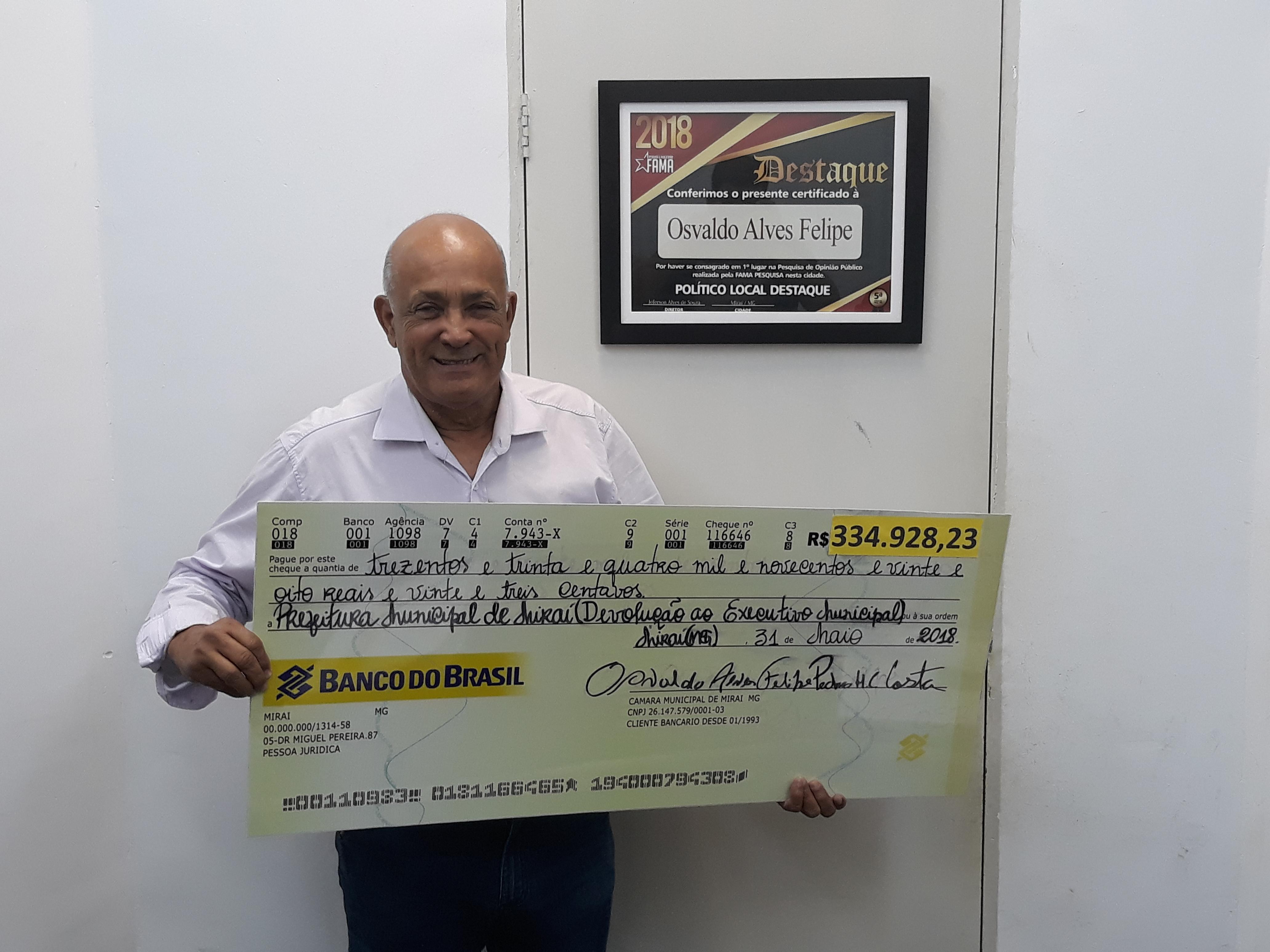 Câmara de Mirai repassou ao todo o valor de R$ 334.928.23
