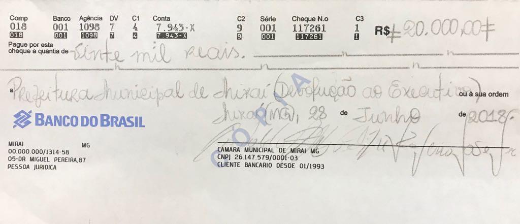 Câmara de Miraí repassa RS 20.000,00