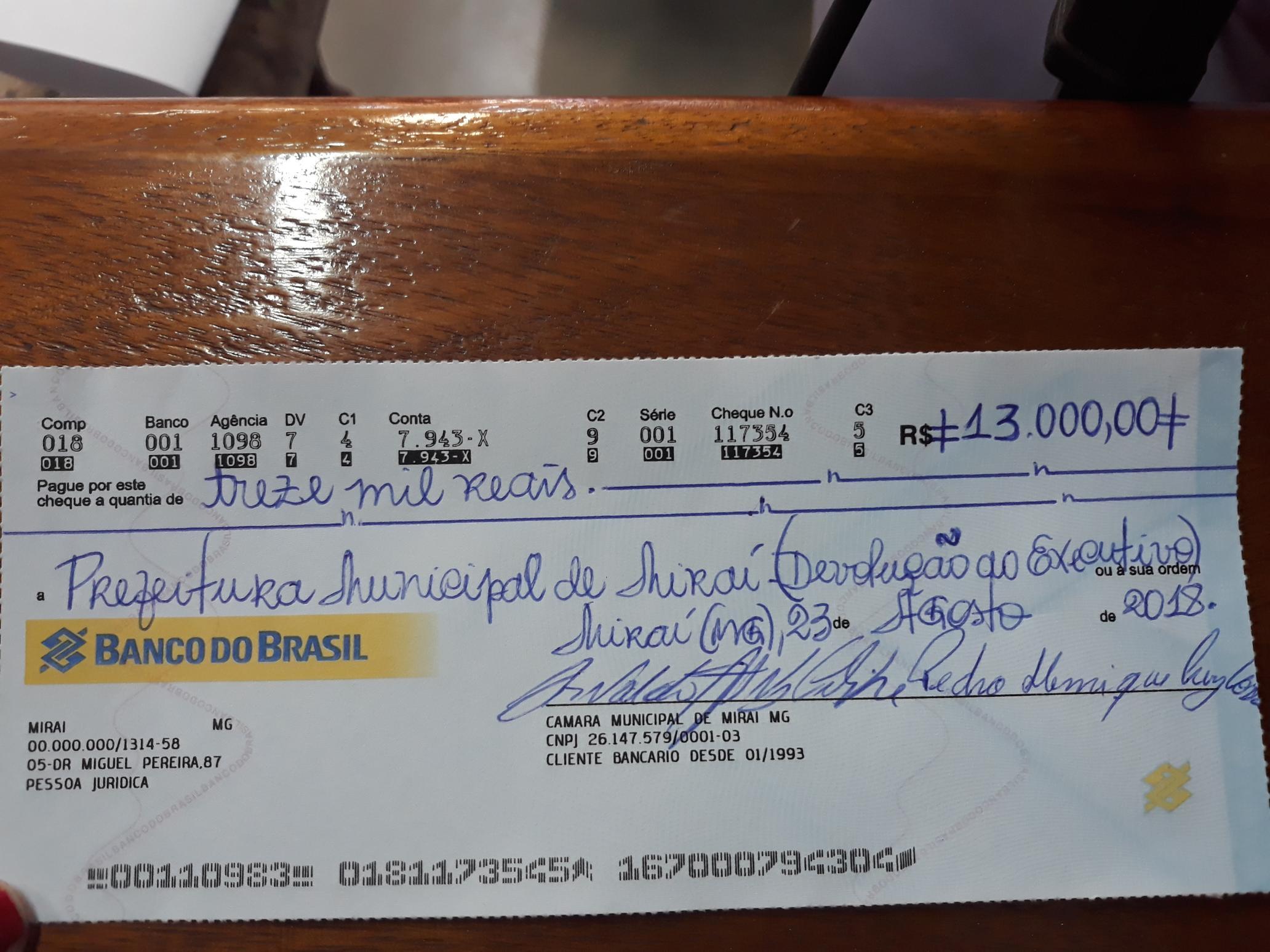 Câmara de Miraí Repassa R$ 13.000,00