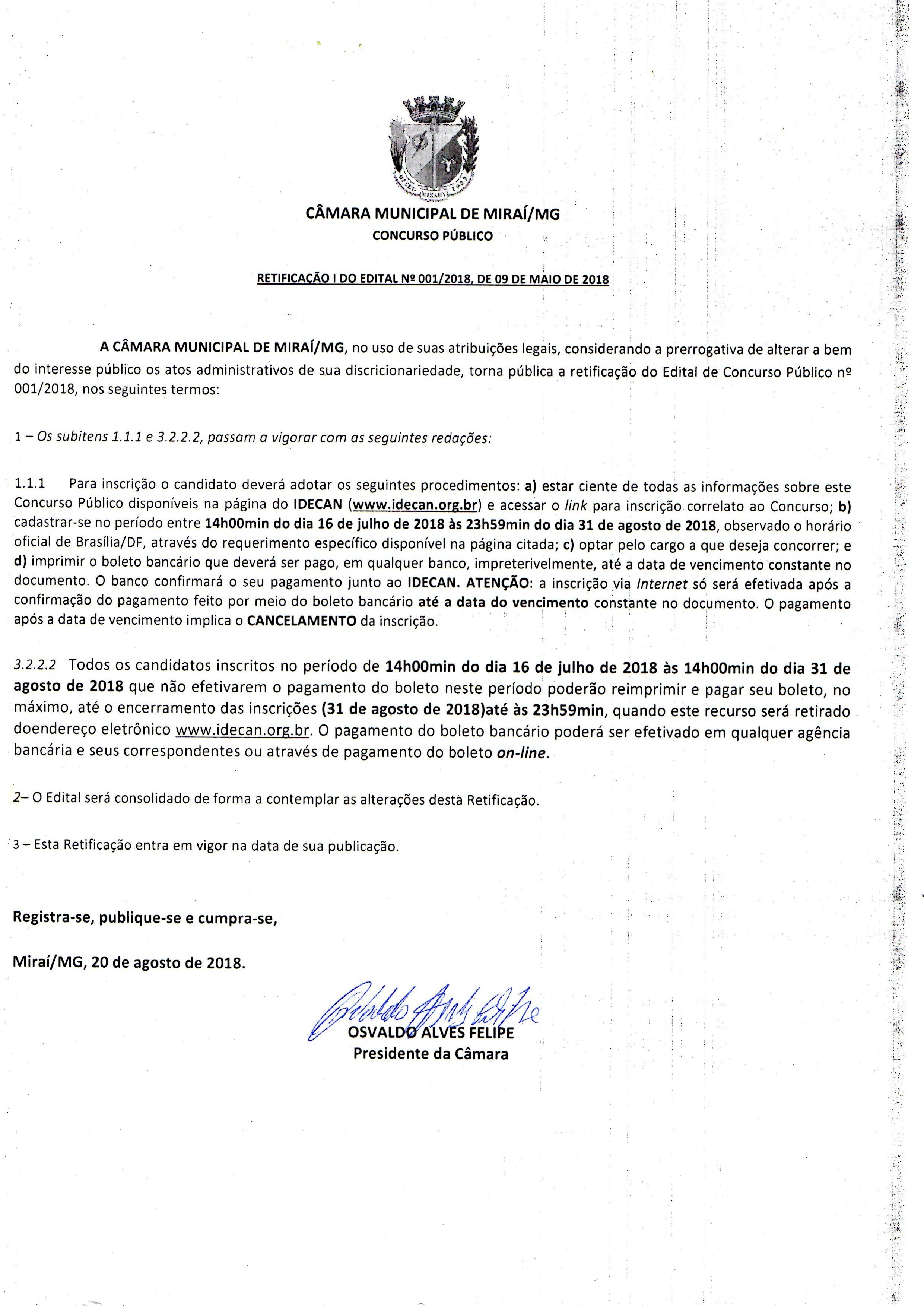 Prorrogação das inscrições do Concurso Público da Câmara Municipal de Mirai.