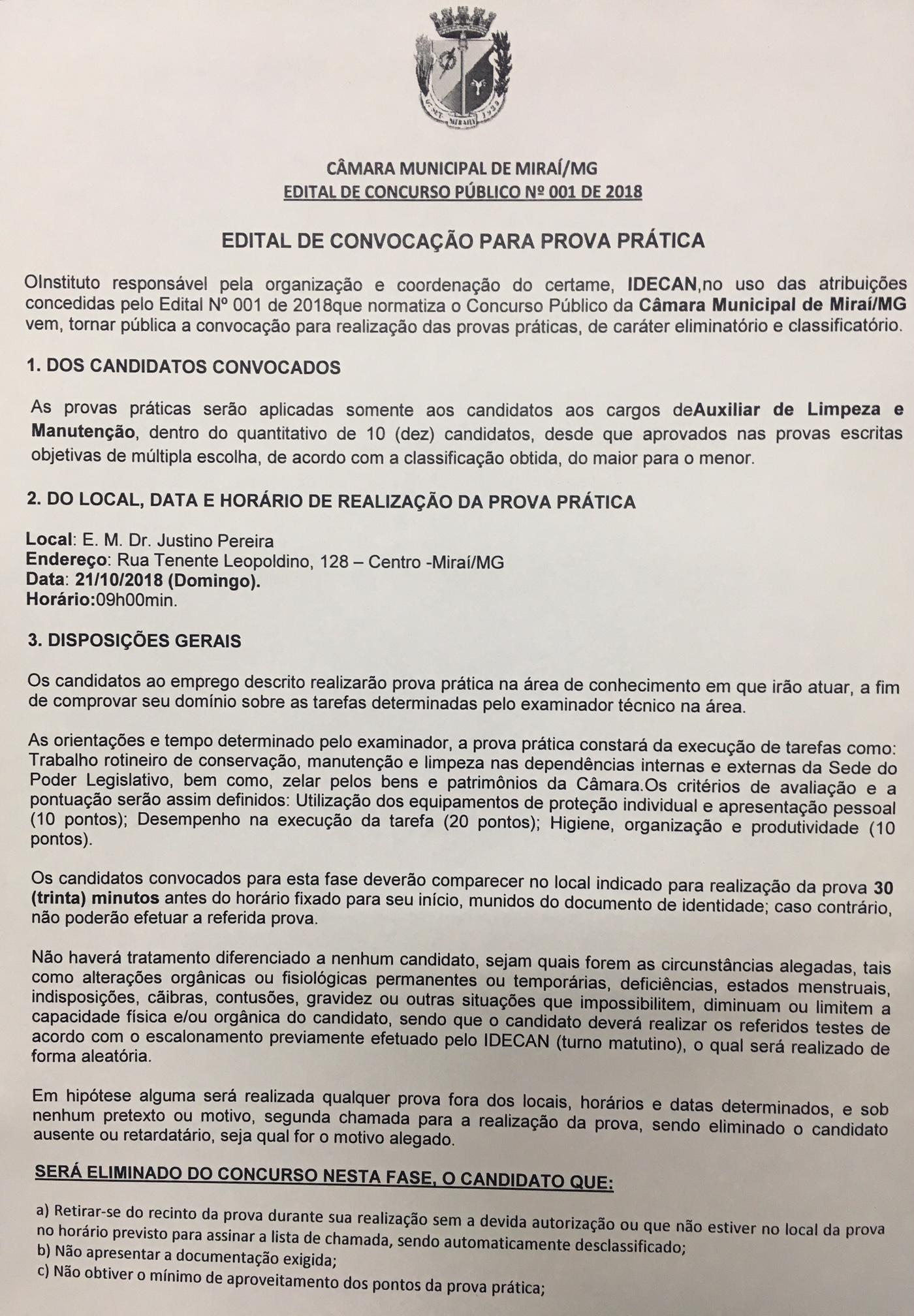 EDITAL DE PUBLICAÇÃO PARA A PROVA PRÁTICA